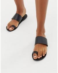 ASOS DESIGN Faro Leather Toe Loop Flat Sandals