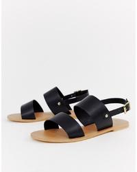 ASOS DESIGN Faye Leather Flat Sandals