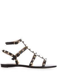 Rockstud leather flat sandals medium 967438