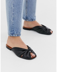 Other Stories Square Toe Gathered Leather Sandals In Black