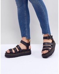 Dr. Martens Vegan Blaire Sandals In Black Felix Rub Off