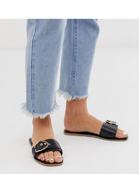 ASOS DESIGN Wide Fit Factual Leather Flat Sandals In Black