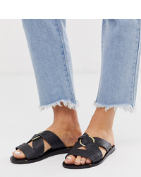 ASOS DESIGN Wide Fit Frankie Leather Ring Detail Flat Sandals