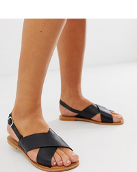ASOS DESIGN Wide Fit Valid Leather Cross Flat Sandals