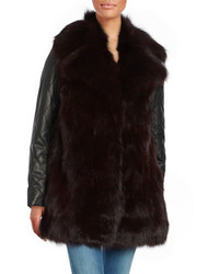 Black Leather Fur Coat
