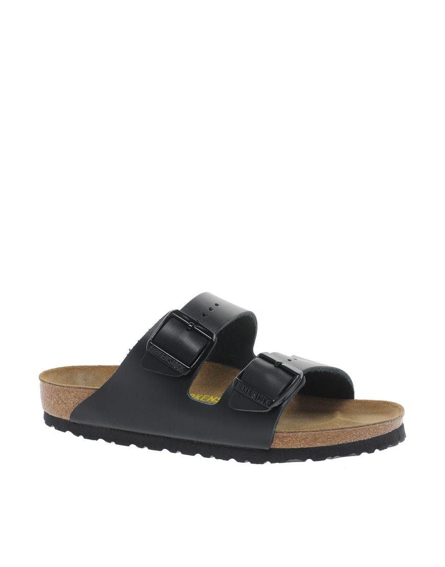 Birkenstock Arizona Black Leather Two Strap Sandals