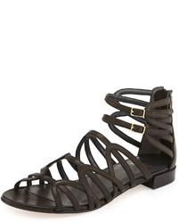Stuart Weitzman Athens Leather Gladiator Sandal Black