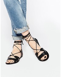 Asos Collection Fuerta Lace Up Leather Sandals