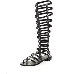 Stuart Weitzman Gladiator Tall Leather Sandal Black