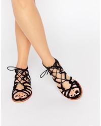 KG by Kurt Geiger Maisy Black Gladiator Flat Sandals
