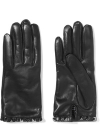 Valentino Embellished Leather Gloves Black