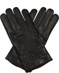 Bottega Veneta Intrecciato Trimmed Leather Gloves