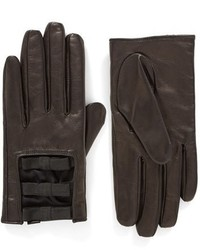 Kate Spade New York Elastic Bow Leather Gloves