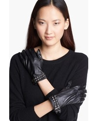 Surell Studded Leather Gloves Black Medium