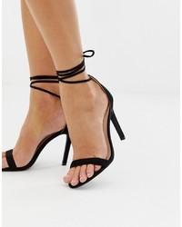 Glamorous Black Ankle Tie Heeled Sandals