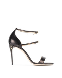 Jennifer Chamandi Black Rolando 105 Leather Sandals