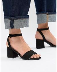 Pull&Bear Block Heel Two Part Mid Sandal In Black