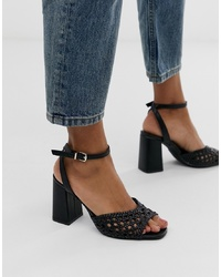 Pimkie Braided Two Part Sandals In Black