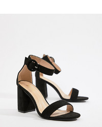 Raid Wide Fit Genna Black Block Heeled Sandals Micro