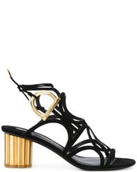 Salvatore Ferragamo Gold Block Heel Lattice Sandals