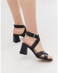 Head over Heels by Dune Head Over Heels Jay Black Wrap Around Block Heeled Sandals