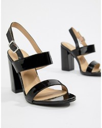 RAID Shania Black Patent Block Heeled Sandals Patent