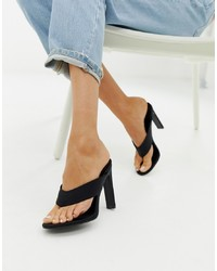 SIMMI Shoes Simmi London Black Toe Post Heeled Sandals
