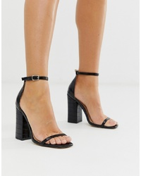 SIMMI Shoes Simmi London Joice Black Croc Square Toe Heeled Sandals
