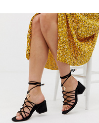 ASOS DESIGN Wide Fit Harvey Knotted Ring Detail Block Heeled Sandals