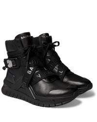 Balmain B Troop Webbing Trimmed Leather Sneakers