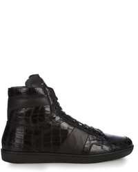 Saint Laurent Crocodile Effect High Top Leather Trainers