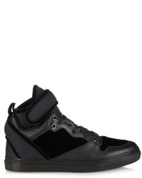 Balenciaga High Top Velvet Leather And Neoprene Trainers