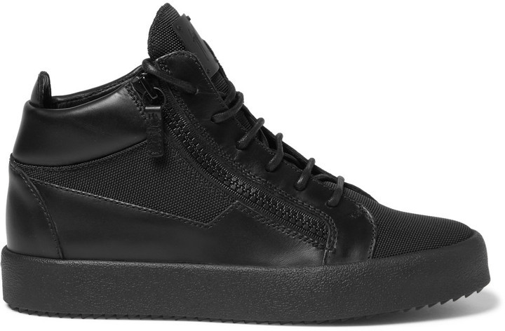 ... Giuseppe Zanotti Leather And Mesh High Top Sneakers ...