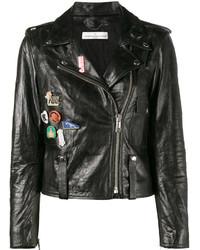 Golden Goose Deluxe Brand Badge Emblazoned Leather Jacket