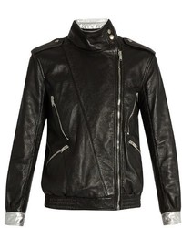 Contrast trim leather jacket medium 824230