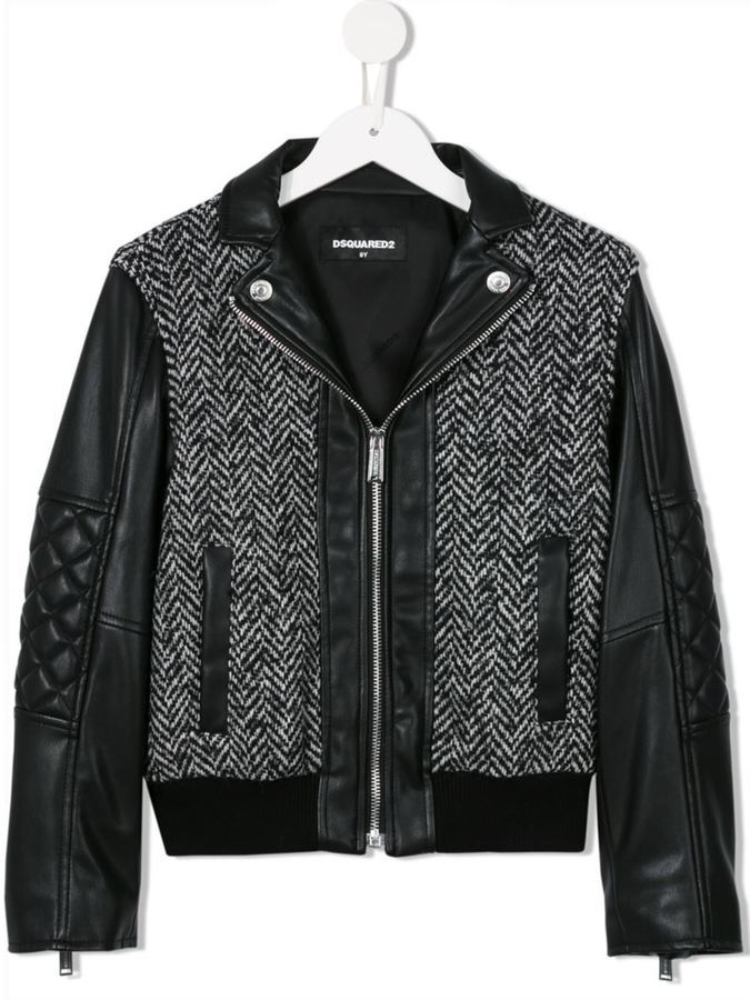 DSQUARED2 Kids Herringbone And Faux Leather Bomber Jacket | Where ...