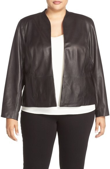 reasonably priced 50% off best quality for £307, Plus Size Halogen Collarless Leather Jacket