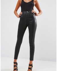 Rivington high waist denim jeggings in black coated medium 3639225