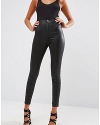 Rivington high waist denim jeggings in black coated medium 3639225