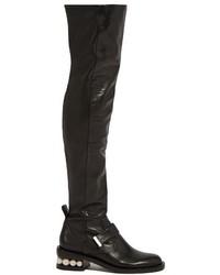 Nicholas Kirkwood Casati Pearl Heel Leather Knee High Boots