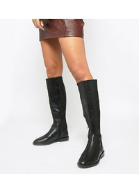 ASOS DESIGN Wide Fit Cadence Leather Riding Boots Leather