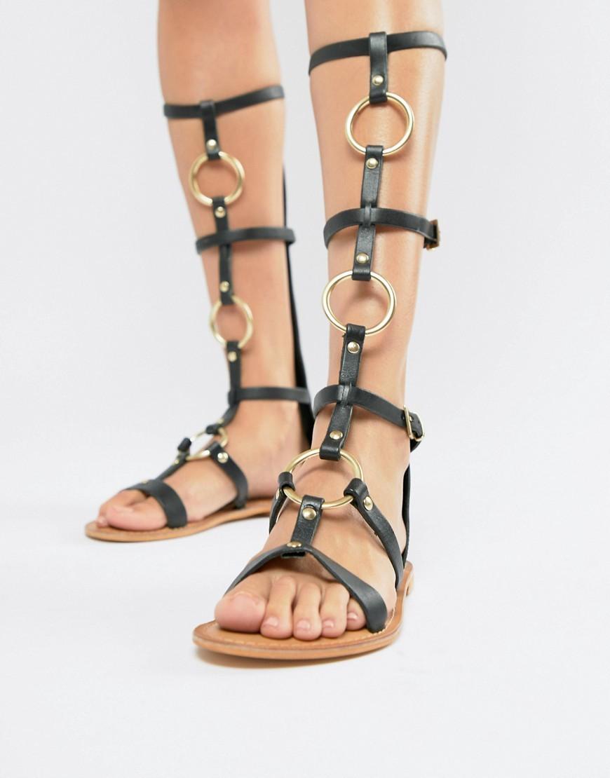 6fabbcd4de17 ... Black Leather Knee High Gladiator Sandals ASOS DESIGN Full Force Leather  Knee High Gladiator Flat Sandals