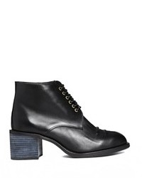 F-Troupe Black Leather Lace Up Heeled Boots Black