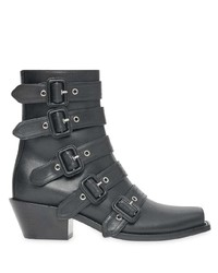 Burberry Buckled Leather Peep Toe Ankle Boots