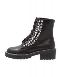 LOST INK Deja Jewel Lace Up Boots Black