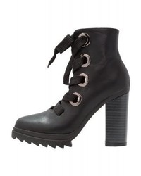 LOST INK Drew Chunky Laces Utility Platform Boots Black
