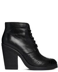 Asos Enough Said Leather Ankle Boots Black