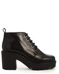 Asos Entity Leather Lace Up Ankle Boots Black