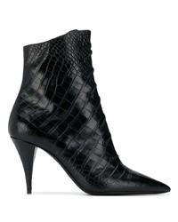 Saint Laurent Lace Up Crocodile Embossed Boots