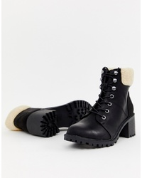 New Look Shearling Heeled Boot In Black